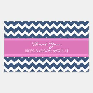 Blue Hot Pink Chevron Thank You Wedding Favor Tags Rectangular Sticker