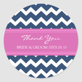 Blue Hot Pink Chevron Thank You Wedding Favor Tags Round Sticker