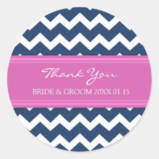 Blue Hot Pink Chevron Thank You Wedding Favor Tags Round Sticker
