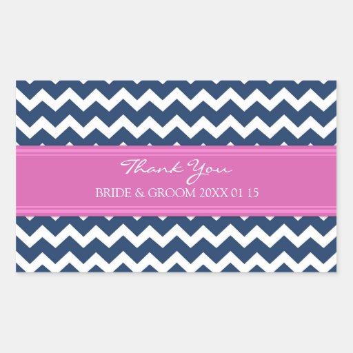 Blue Hot Pink Chevron Thank You Wedding Favor Tags Rectangular Stickers
