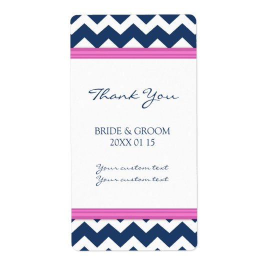 Blue Hot Pink Chevron Wedding Labels