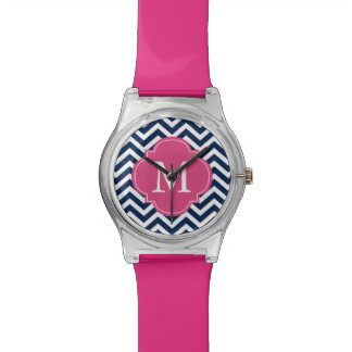 Blue & Hot Pink Chevrons Monogram Wristwatch