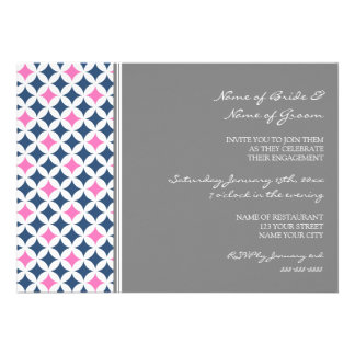 Blue Hot Pink Pattern Engagement Party Invitations