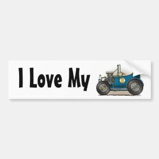 Blue Hot Rod Car I Love My Bumper Sticker