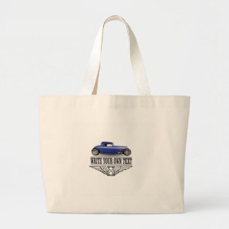 blue hot rod large tote bag