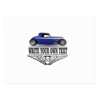 blue hot rod postcard