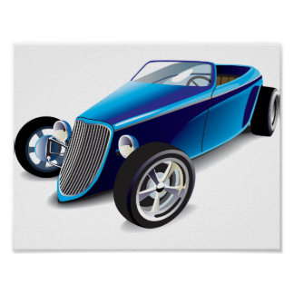Blue Hot Rod Poster