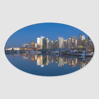 Blue Hour Reflection of Vancouver BC Oval Sticker