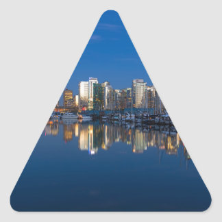 Blue Hour Reflection of Vancouver BC Triangle Sticker