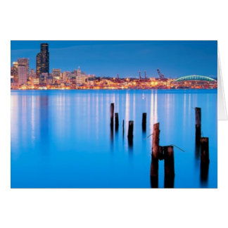 Blue hour view of downtown Seattle Card