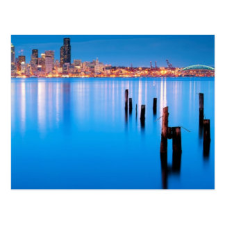 Blue hour view of downtown Seattle Postcard