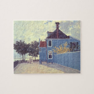 Blue House at Zaandam by Claude Monet, Vintage Art Jigsaw Puzzle