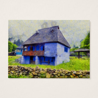 Blue house painting business card