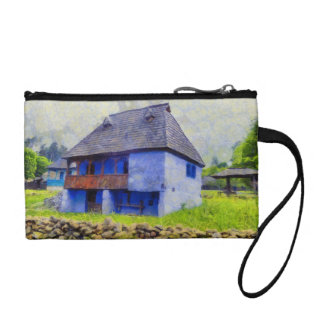 Blue house painting coin purse