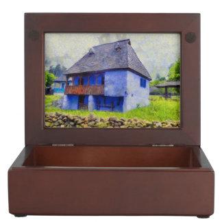 Blue house painting keepsake box