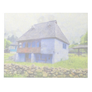 Blue house painting notepad