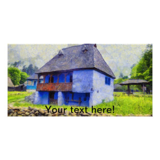 Blue house painting photo card