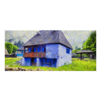 Blue house painting rack card