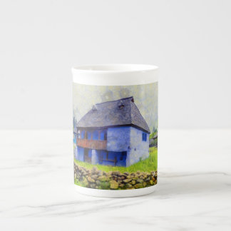 Blue house painting tea cup
