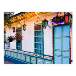 Blue house postcard