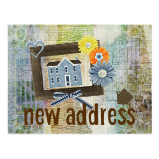Blue House Scrapbooking Style Collage New Address Postcard
