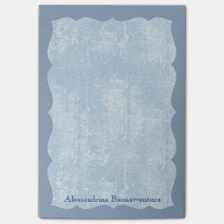 Blue Hues Leather Look in Wavy Frame Custom Name Post-it® Notes