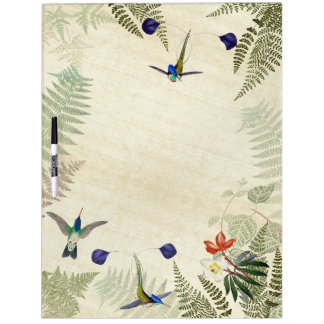 Blue Hummingbird Birds Fern Floral Dry Erase Board