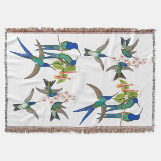 Blue Hummingbird Birds Flowers Throw Blanket