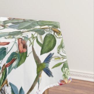 Blue Hummingbird Birds Tropical Flowers Tablecloth