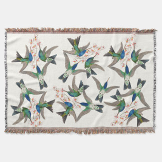 Blue Hummingbird Birds Wildlife Flowers Throw