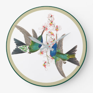 Blue Hummingbird Birds Wildlife Flowers Wall Clock