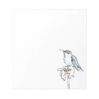 Blue Hummingbird on Shasta Daisy Notepad