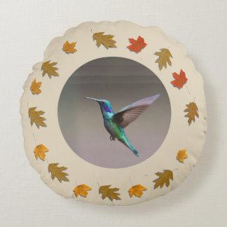 Blue Hummingbird Round Cushion