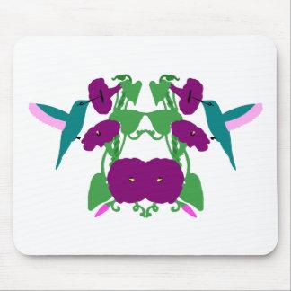 Blue Hummingbirds & Morning Glory Vine Mouse Pad