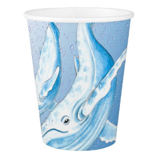 Blue Humpbacks Waterdrops Paper Cup