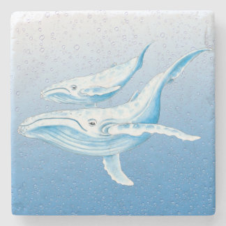Blue Humpbacks Waterdrops Stone Coaster