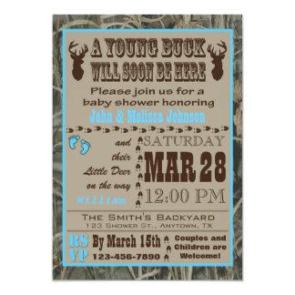 Blue Hunting Camo Baby Shower Invitations