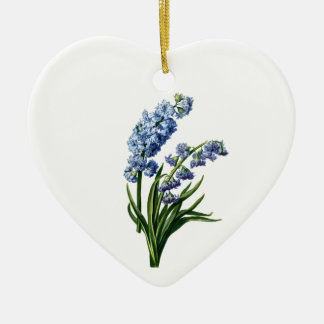Blue Hyacinth Drawn from Nature Ceramic Heart Decoration