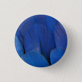 Blue Hyacinth Macaw Feather Design 3 Cm Round Badge