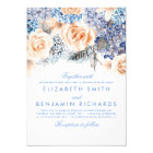 Blue Hydrangea and Peach Flowers - Floral Wedding Card