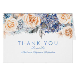 Blue Hydrangea and Peach Roses Bouquet Thank You Card