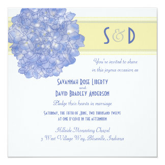 Blue Hydrangea Art Wedding Invitations, Square Card