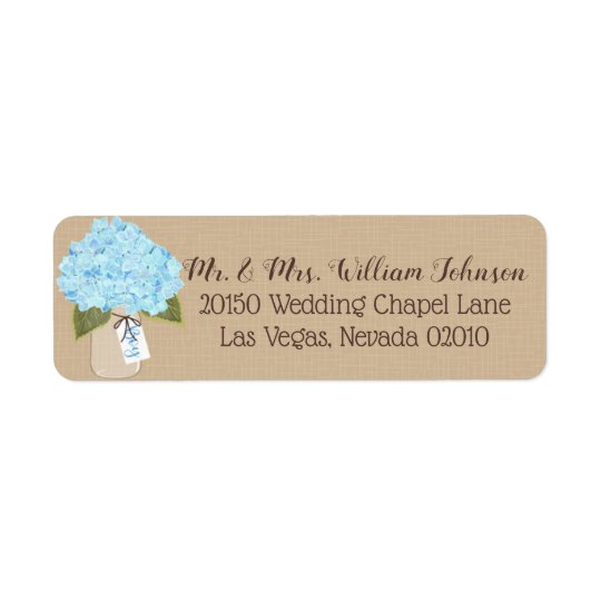 Blue Hydrangea Bouquet Label