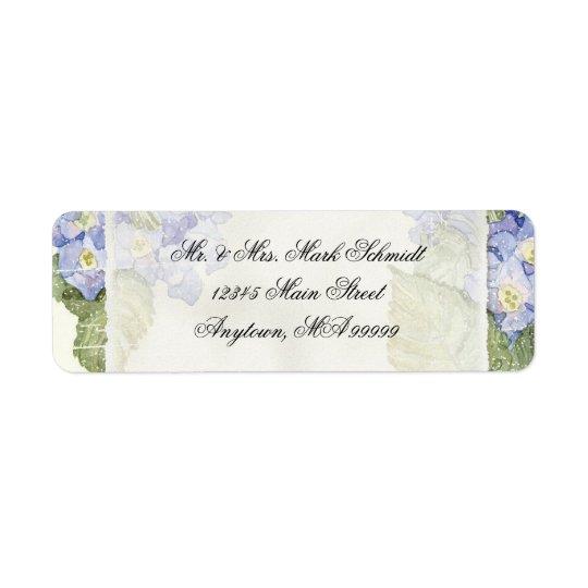 Blue Hydrangea Bracket Floral Formal Wedding Return Address Label