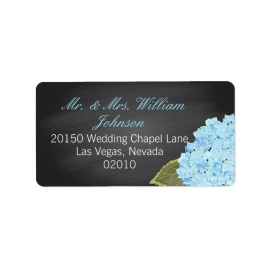 Blue Hydrangea Chalkboard Wedding Label