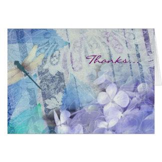 BLUE HYDRANGEA & DRAGONFLY Thank You Greeting Card