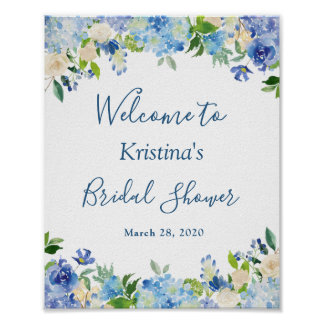 Blue Hydrangea Floral Chic Bridal Shower Sign