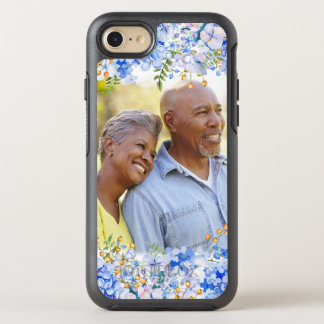 Blue Hydrangea Floral Photo Border OtterBox Symmetry iPhone 8/7 Case