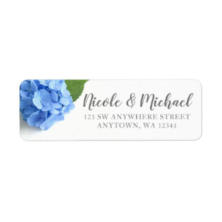 Blue Hydrangea Floral Return Address Return Address Label