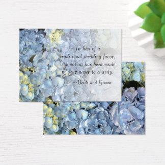 Blue Hydrangea Floral Wedding Charity Favor Card